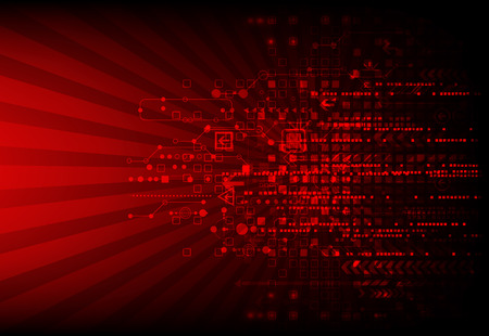 technologie: Red background technologique abstrait avec divers éléments technologiques