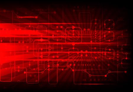 rot: Red abstrakten technologischen Hintergrund mit verschiedenen technologischen Elemente Illustration