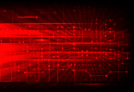 Red abstract technological background with various technological elements Stock Illustratie