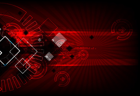 website banner: Red abstract technological background with various technological elements Illustration