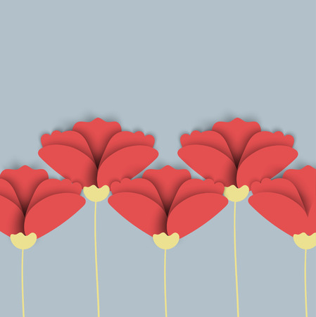 upgrowth: Abstract nature background. Red poppy flowers. Vector