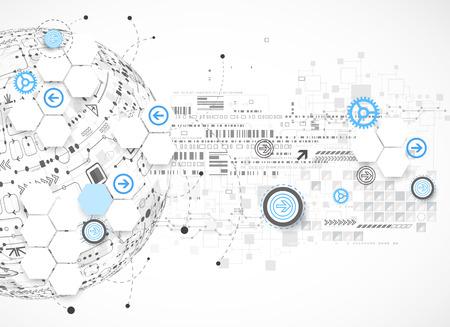 技術: 抽象的技術背景的地球。向量