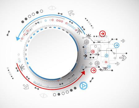 ingeniería: Concepto abstracto de la tecnología del conocimiento de los negocios. Vector