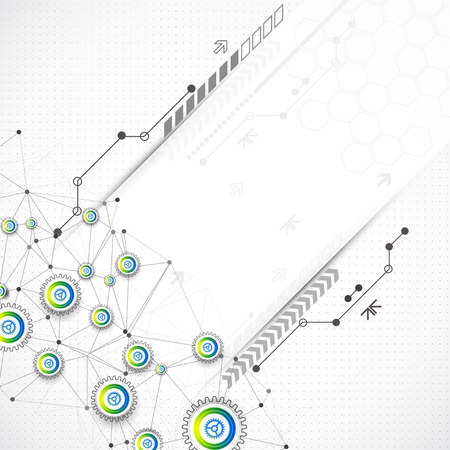 modernization: Abstract technological background with various elements. Vector Illustration