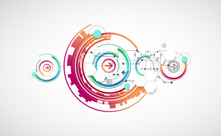 Abstract color background with various technological elements. Vector Illustration