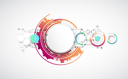 connection connections: Abstract color background with various technological elements. Vector Illustration