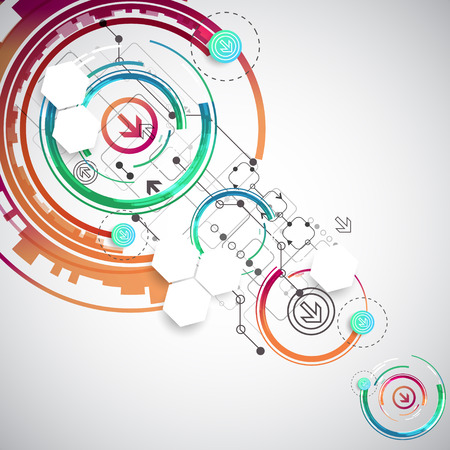 abstract: Abstract color background with various technological elements. Vector Illustration