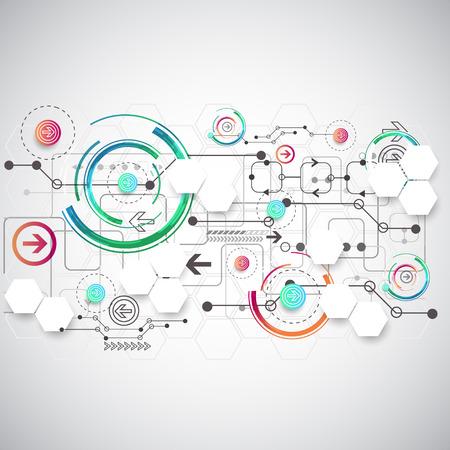 Abstracte kleur achtergrond met verschillende technologische elementen. Vector Stock Illustratie