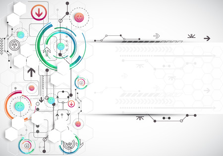 modernization: Abstract color background with various technological elements. Vector Illustration