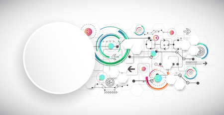 software engineering: Abstract color background with various technological elements. Vector Illustration