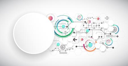 tecnologias de la informacion: Color de fondo abstracto con diversos elementos tecnológicos. Vector Vectores