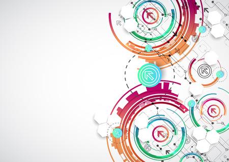 acquaintance: Color de fondo abstracto con diversos elementos tecnol�gicos. Vector Vectores