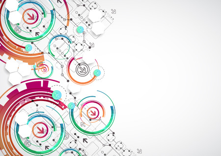acquaintance: Abstract color background with various technological elements. Vector Illustration