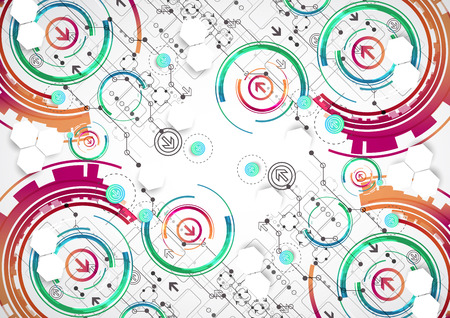 technical background: Abstract color background with various technological elements. Vector Illustration