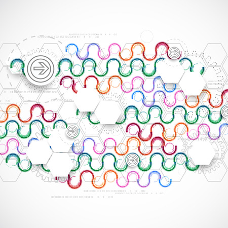 arc: Abstract technological arc background with various technological elements. Vector