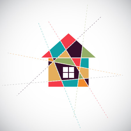 real estate house: House abstract real estate vector background. Realty theme icon. Illustration