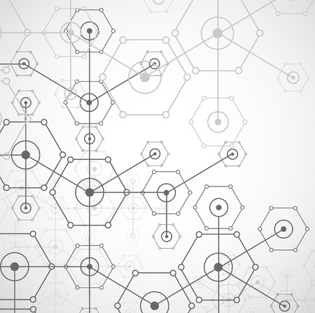medical abstract: Abstract white bright technology hexagonal background. Connection structure. Vector