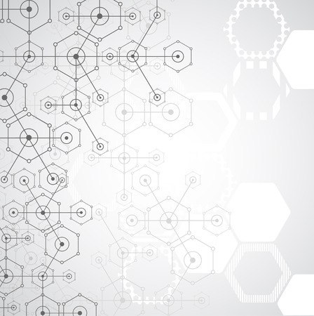 nanotechnology: Abstract white bright technology hexagonal background. Connection structure. Vector