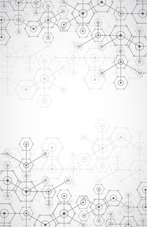 connection: Abstract white bright technology hexagonal background. Connection structure. Vector