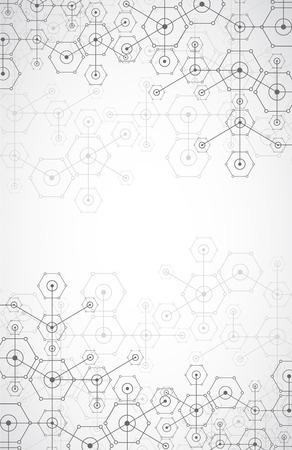 conexiones: Blanco tecnología de fondo brillante hexagonal abstracta. Estructura de conexión. Vector