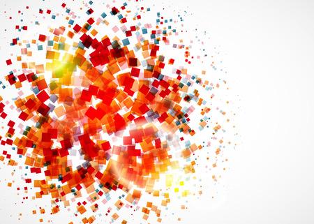 Färgrik konfetti på vit bakgrund med stort ljus. Vektor Illustration