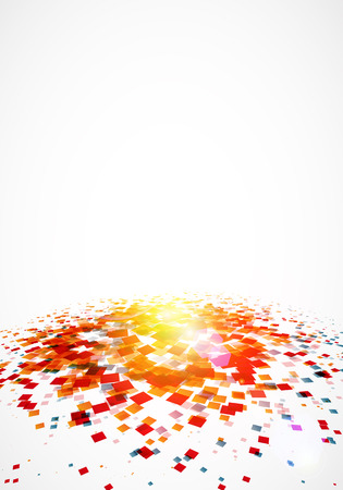 Colorful confetti on white background with great light. Vector