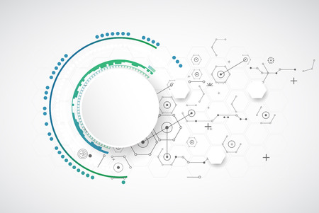 Abstract technology background with various technological elements. Vector  イラスト・ベクター素材