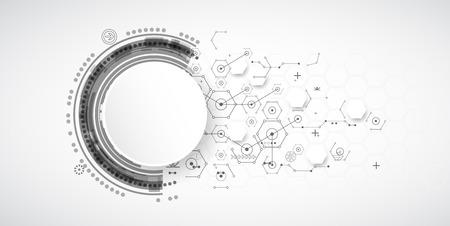 tecnologias de la informacion: La tecnología de fondo abstracto con diversos elementos tecnológicos. Vector Vectores
