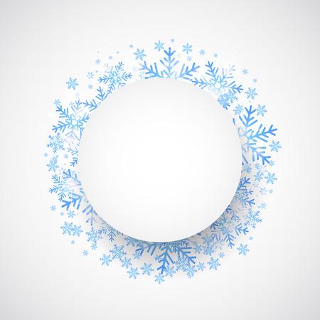 marcos redondos: Ca�da de la nieve. Vacaciones de invierno Fondo de tema. Vector Vectores