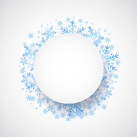 round window: Snow fall. Holiday winter theme background. Vector
