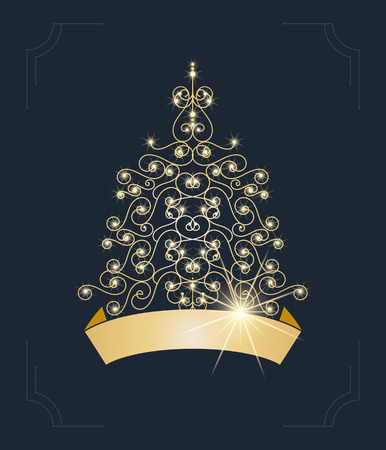 winter tree: Winter background with Christmas tree. Vector Illustration