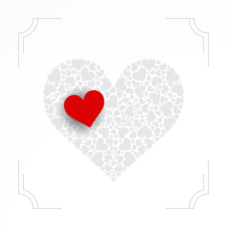 smaller: Heart shape made from smaller hearts. Valentines day vector
