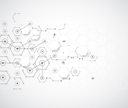 Abstract technology background with various technological elements. Vector Illustration