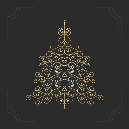 holiday card: Absrtact floral christmas tree background. Vector