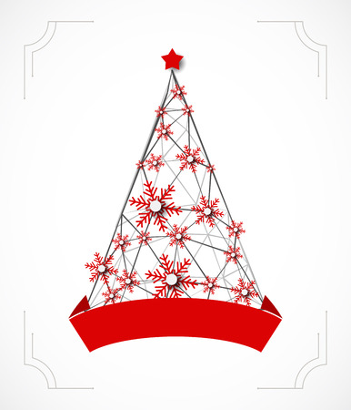 winter vector: Winter background with Christmas tree. Vector Illustration
