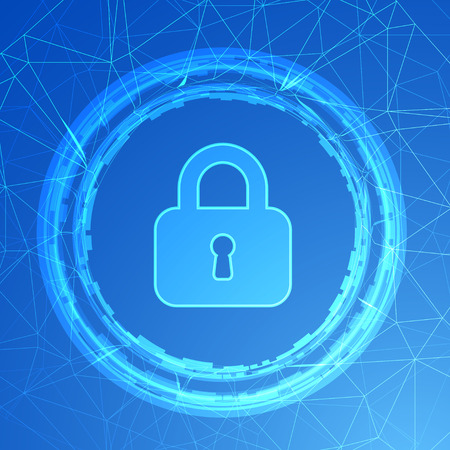 computer network: Network protection. Padlock on a blue background. Internet security, technology secure, safety computer, vector illustration Illustration