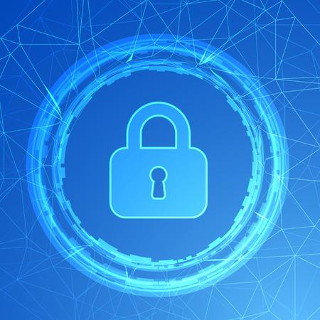 red informatica: Protección de la red. Candado en un fondo azul. de seguridad de Internet, tecnología de seguridad, equipo de seguridad, ilustración vectorial Vectores