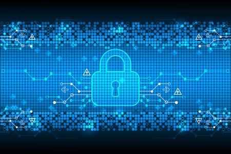 디지털 인코딩을 보호. 자물쇠와 디코딩 알고리즘, 스크립트 프로그래밍, 안전 및 보호 시스템, 벡터 일러스트 레이 션