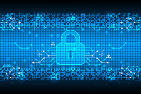 Protecting digital encoding. Padlock and decoding algorithm, script programming, safety and protect system, vector illustration Vectores