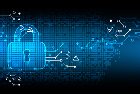 protección: La protección de la codificación digital. Candado y algoritmo de decodificación, la programación de la escritura, la seguridad y el sistema de protección, ilustración vectorial
