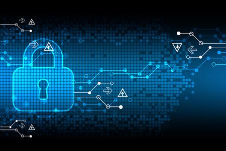 Schutz digitaler Codierung. Vorhängeschloss und Decodieralgorithmus, Skript-Programmierung, Sicherheit und Schutz-System, Vektor-Illustration Vektorgrafik
