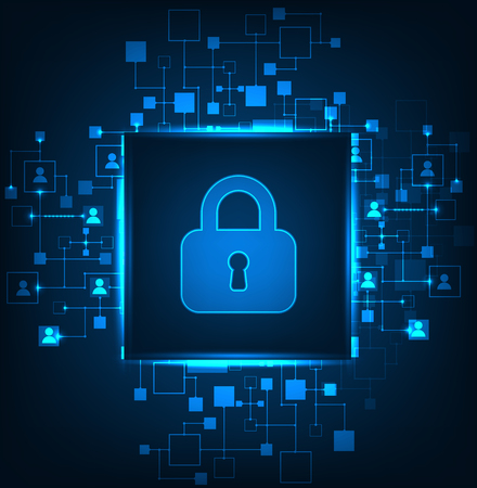 background information: Digital protection and security.Protect system, privacy web information, vector illustration Illustration