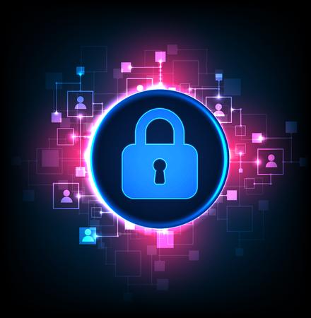 디지털 보호 및 보안. 시스템, 개인 정보 보호 웹 정보, 벡터 일러스트 보호 일러스트