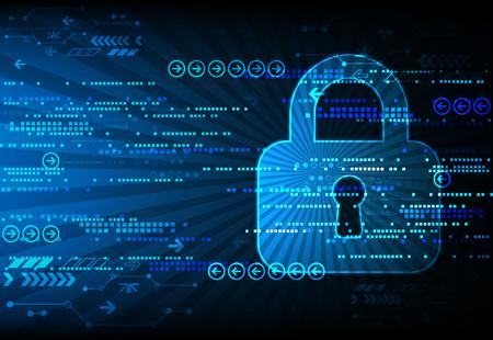 Asegure el espacio digital. Conexión virtual confidencial, estructura de puntos, la protección de programación, sistema de esquema de candado, ilustración vectorial