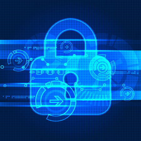 Protecting digital encoding. Padlock and decoding algorithm, script programming, safety and protect system, vector ilustration