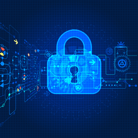 Protecting digital encoding. Padlock and decoding algorithm, script programming, safety and protect system, vector ilustration Vettoriali