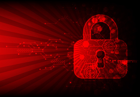 Secure digital space. Virtual confidential, structure point connection, programming protection, padlock scheme system, vector illustration