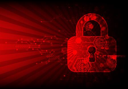 proteccion: Asegure el espacio digital. Conexión virtual confidencial, estructura de puntos, la protección de programación, sistema de esquema de candado, ilustración vectorial