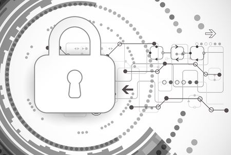 Protection program code. Technology security, encode and decrypt, techno scheme, vector illustration 일러스트