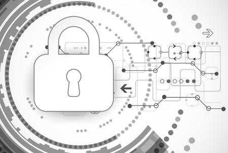 Protection program code. Technology security, encode and decrypt, techno scheme, vector illustration Vectores